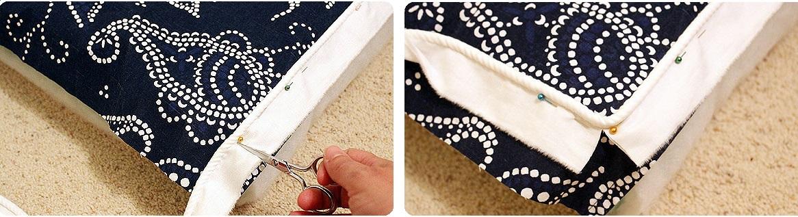 decoracion para funda de telas para almohadon