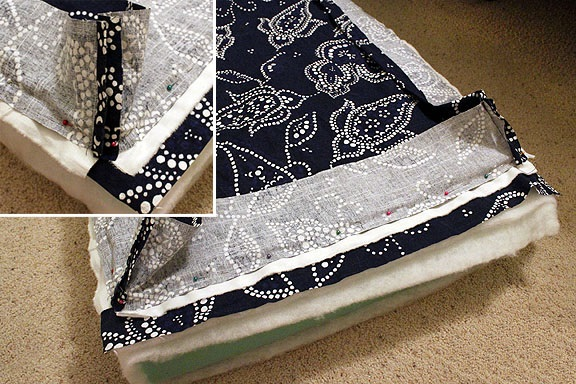 como hacer una funda de almohadon de tela para sillon