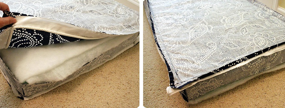 costura con telas  de funda de almohadon de sillon
