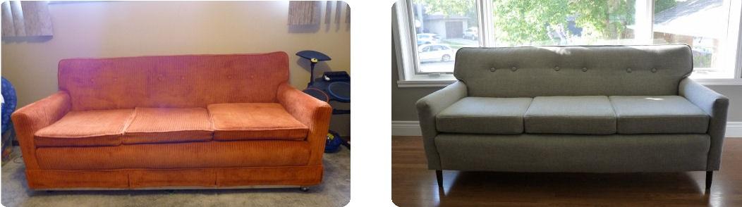 antes y despues de tapizar un sillon