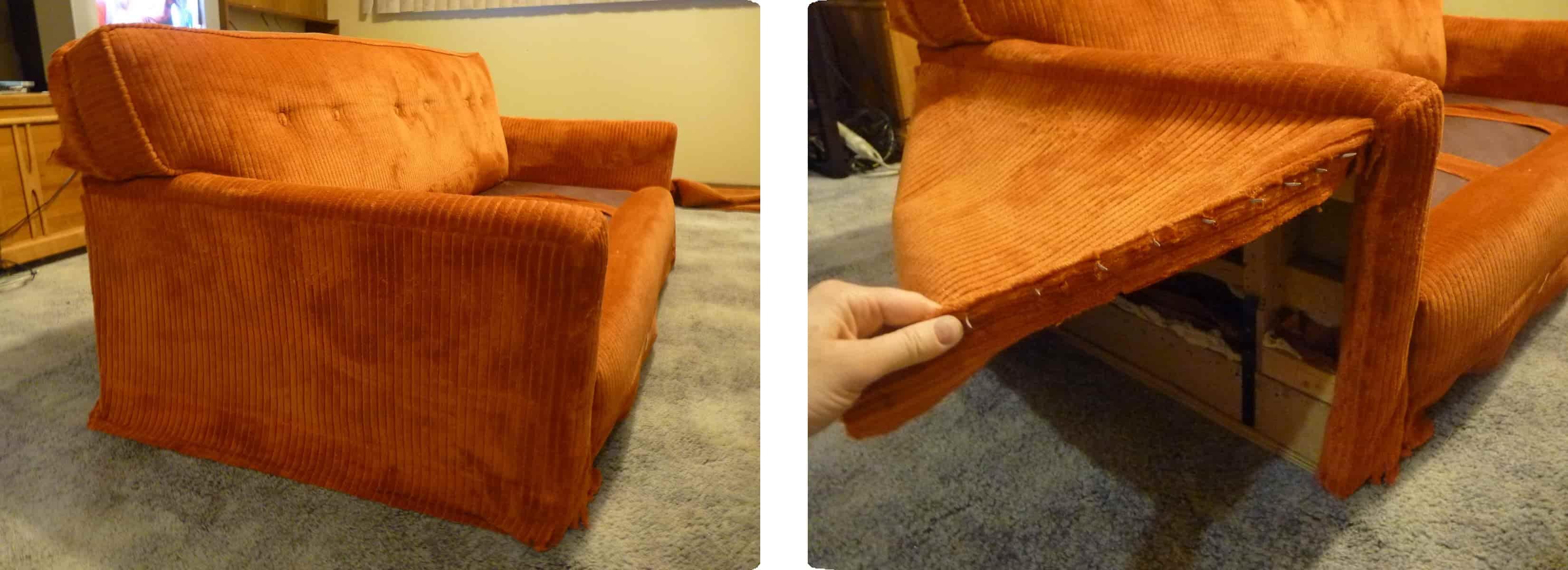 retirado de tela brazos del sillón para tapizar