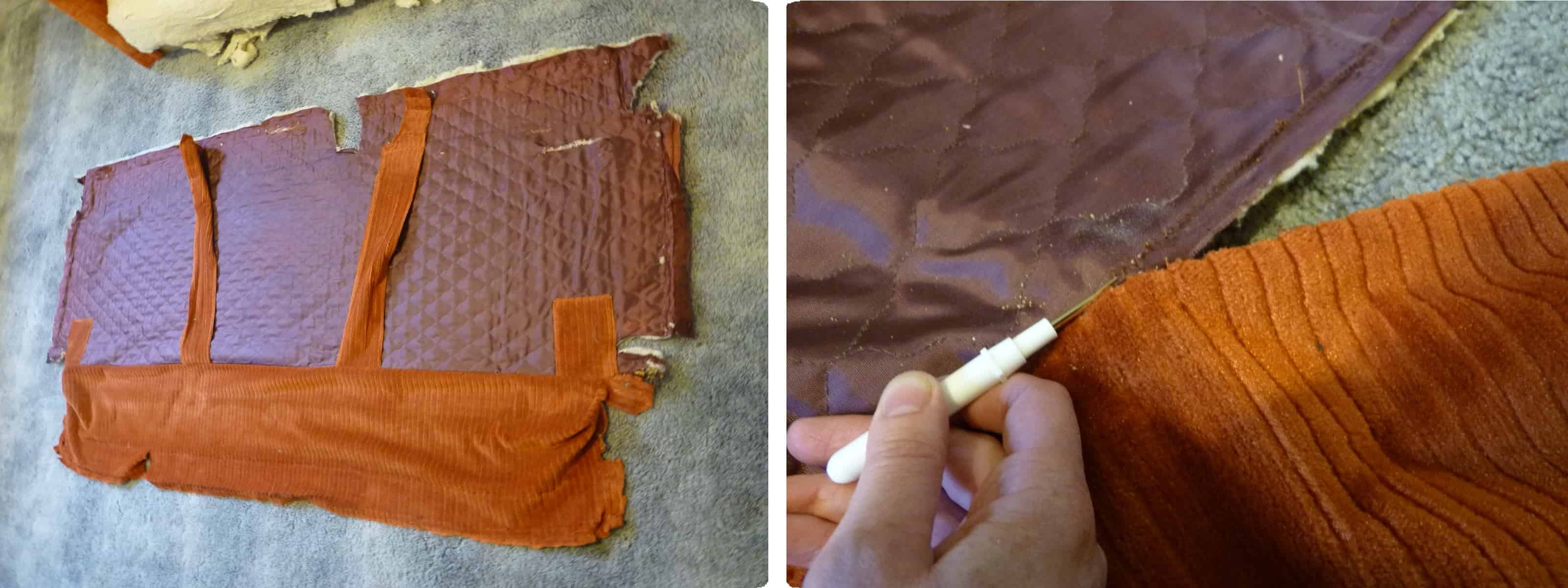 costura de unión de almohadones de tela para tapizar sillón