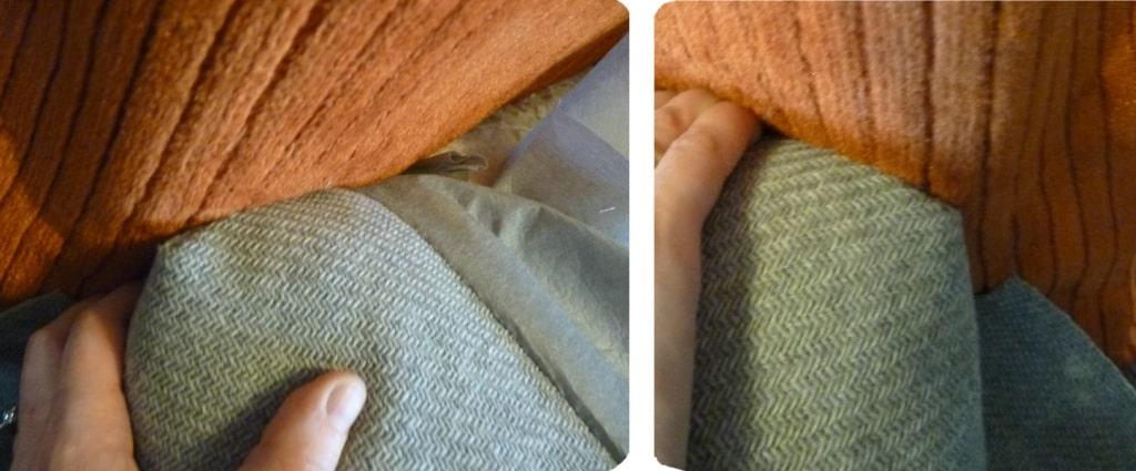ajustar panel de tela para un sillón antes de tapizar
