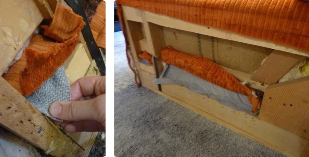 ajustar y engrampar tela al sillón para tapizar
