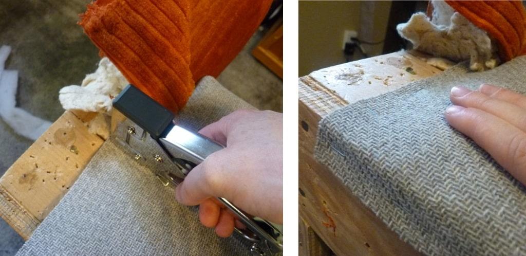 ajusta y engrampar telas del asiento al sillón para tapizados