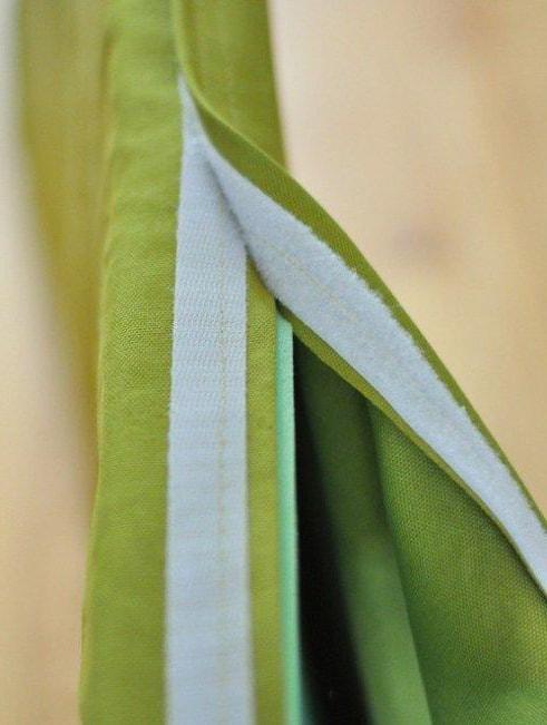 colocaciónd el velcro en la tela externa