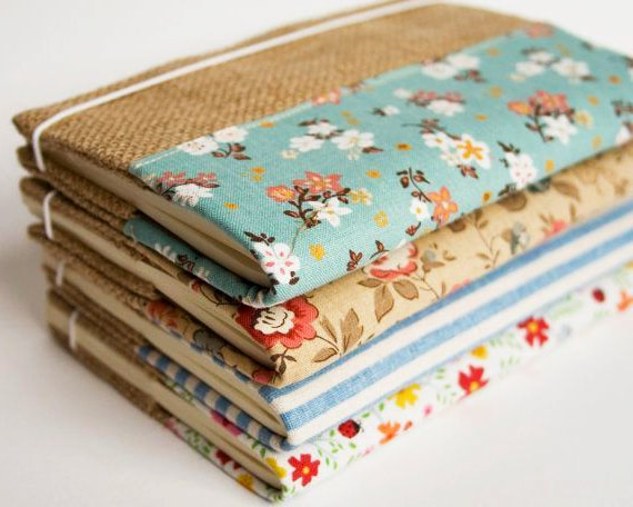 forro de cuaderno de tela con arpillera