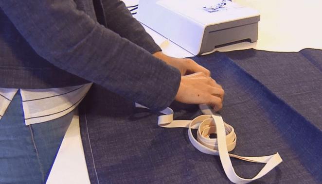 costura de cinta de bies para la cintura del delantal