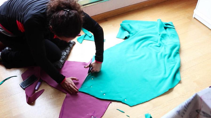 corte de cola y silueta para manta de tela