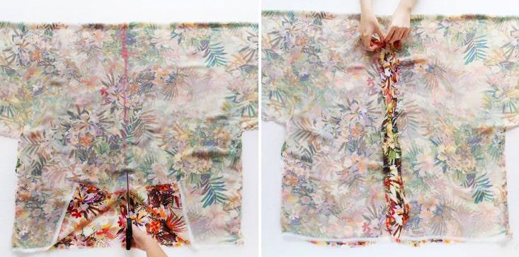 corte de la parte delantera del kimono