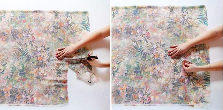 Corte de la tela para el cinturón del kimono