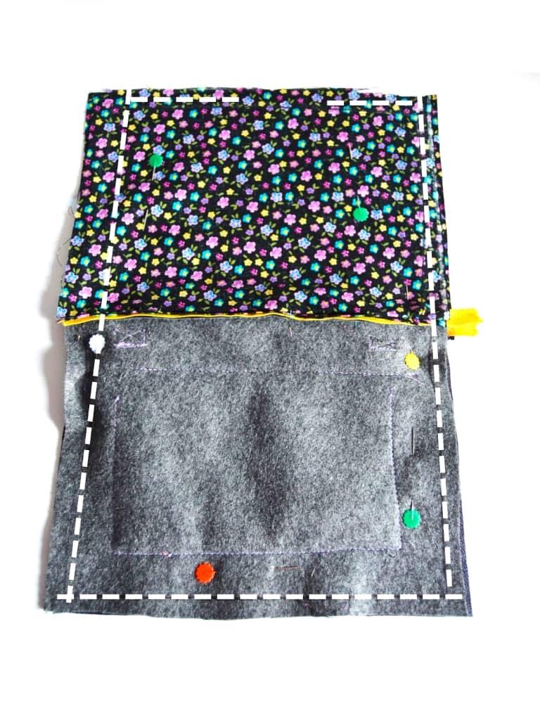 costura de contorno de riñonera