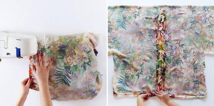 costura de la parte delantera del kimono