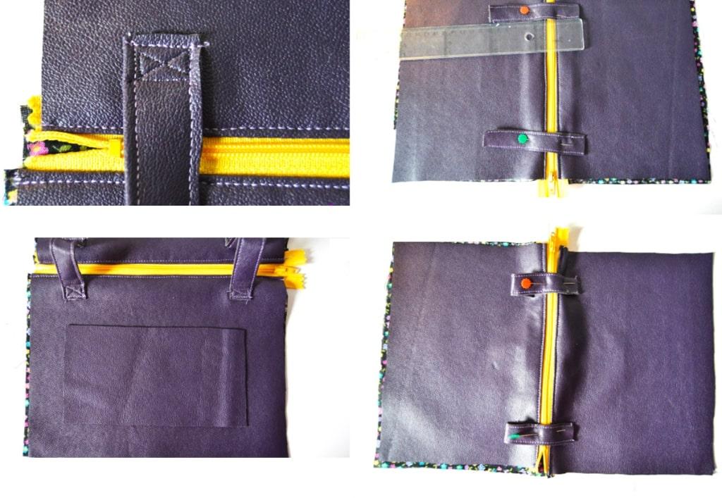 costura de tiras a la riñonera de tela