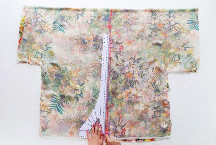 Medidas de la parte delantera del kimono
