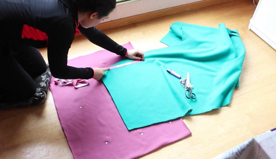 superposición de telas para manta
