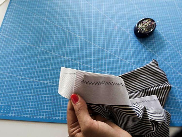 costura de elastico para falda de tela