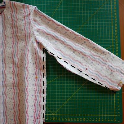 Costura interna de la camisa de tela