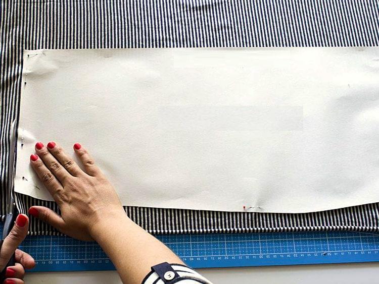 Marcado de tela para falda tubo