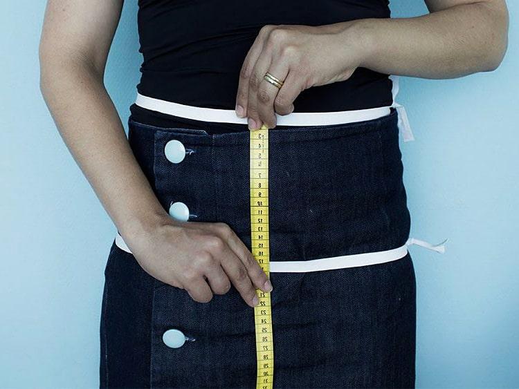distancia de cintura y cadera para falda de tela