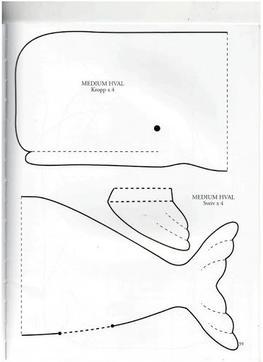 patrón para almohadón de tela en forma de ballena
