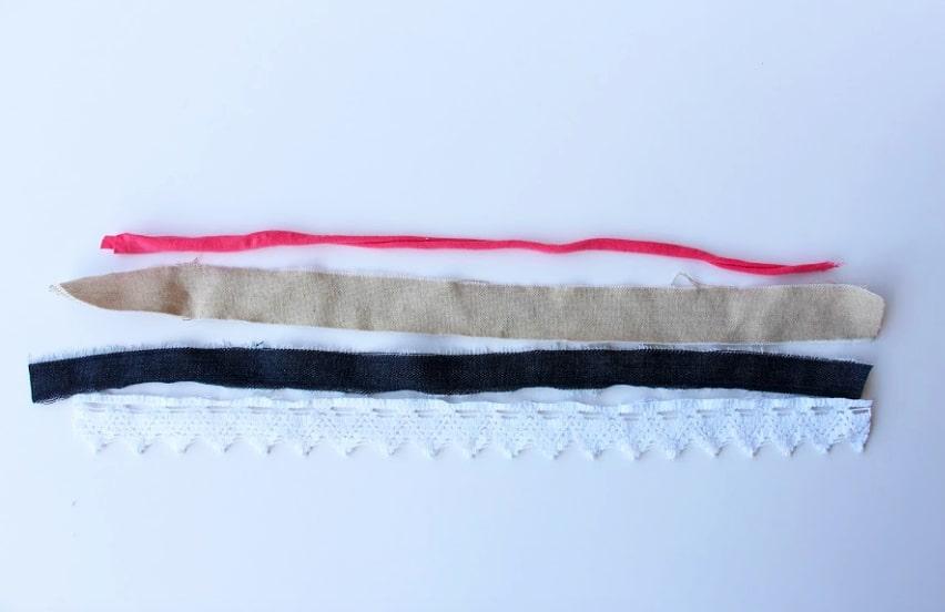cortes de tiras de tela