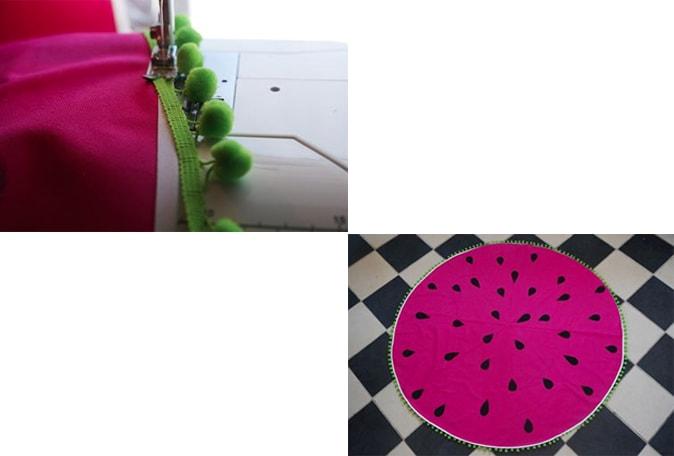 costura de pompones sobre tela para lona redonda