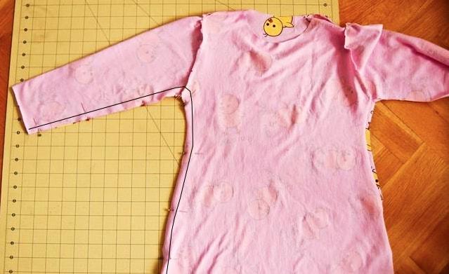 unión de parte superior para pijama de tela