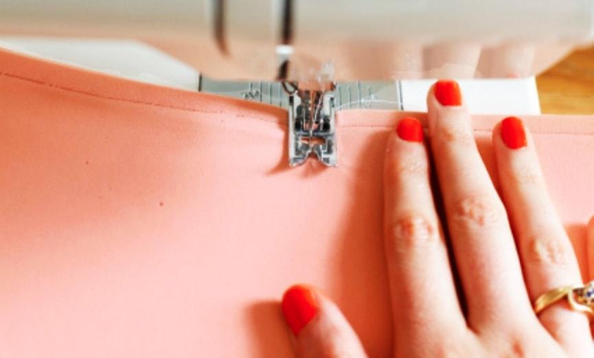 costura de rectangulo de tela para organizdor