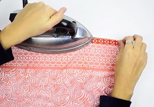 planchado de dobladillo para pareo de tela