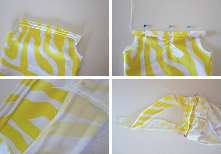 colocación de terminaciones para traje de baño de tela