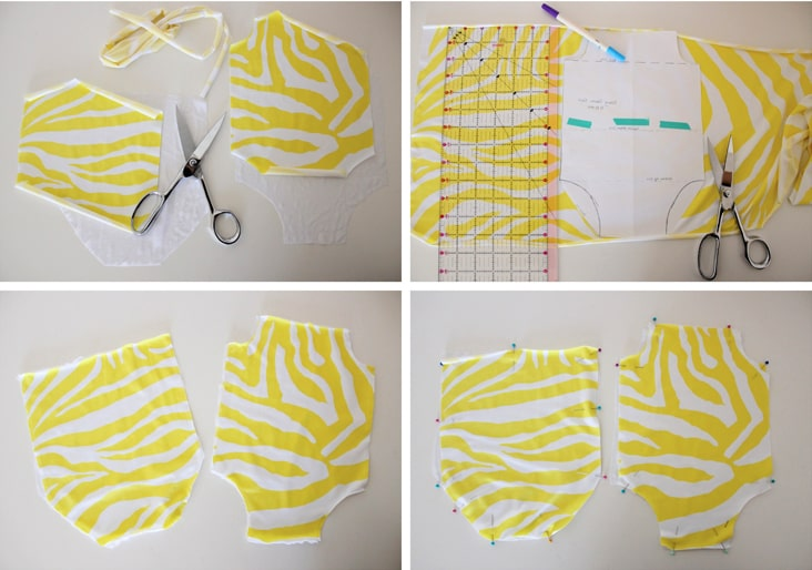 corte de tela y unión del traje de baño