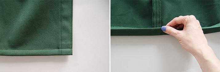 realizacion de dobladillo inferior para falda de tela