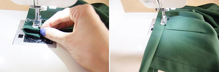 costura de contura para falda de tela
