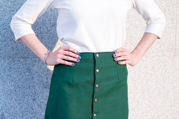 falda de tela terminada