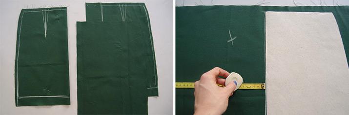 marcado y corte de tela delantera pra falda