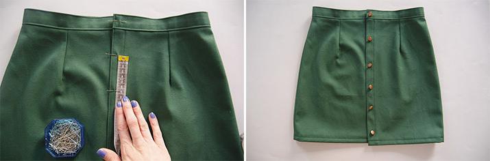 medida de botones para falda de tela