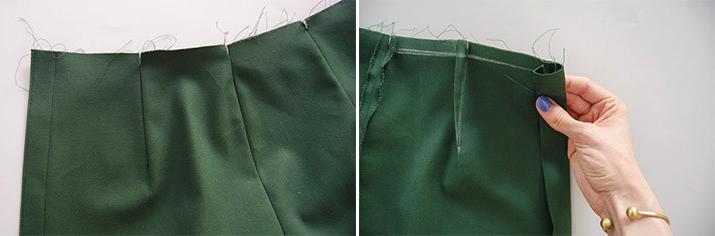 realizacion de dobladillo delantero para falda de tela