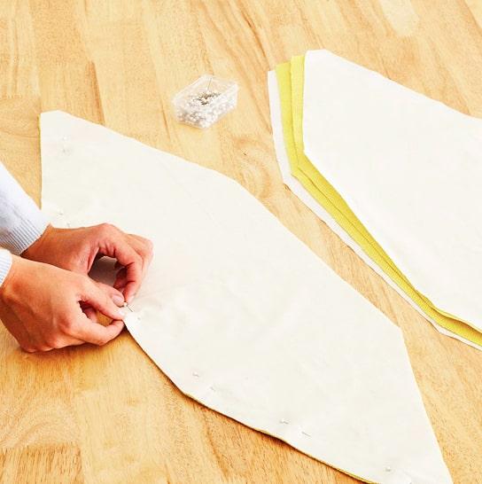 marcado y unión de telas para puff