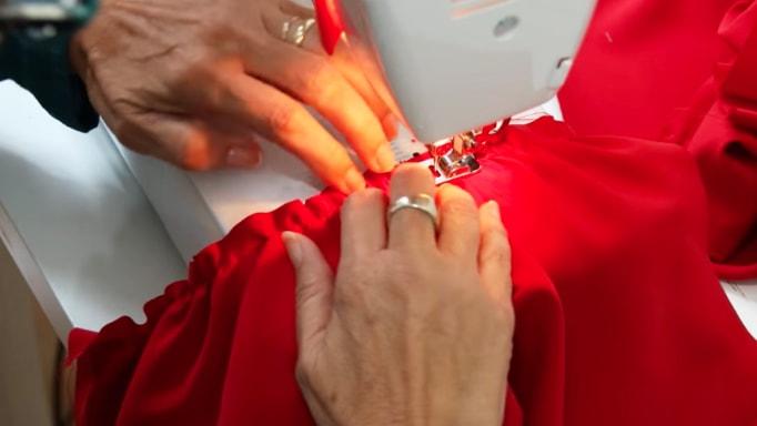 costura de tela del ante brazo y brazo