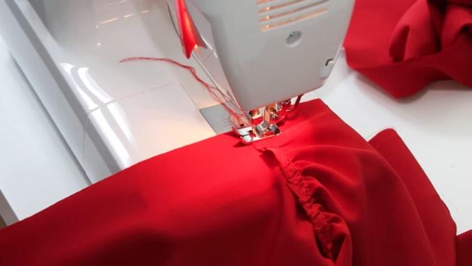 costura de tela de la manga