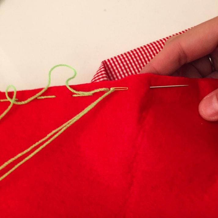 costura de triangulos de tela para arbol
