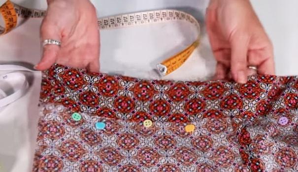 realización de la cintura del short de tela