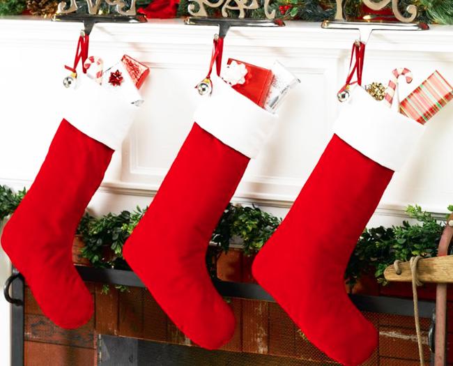 bota navideña de tela terminada