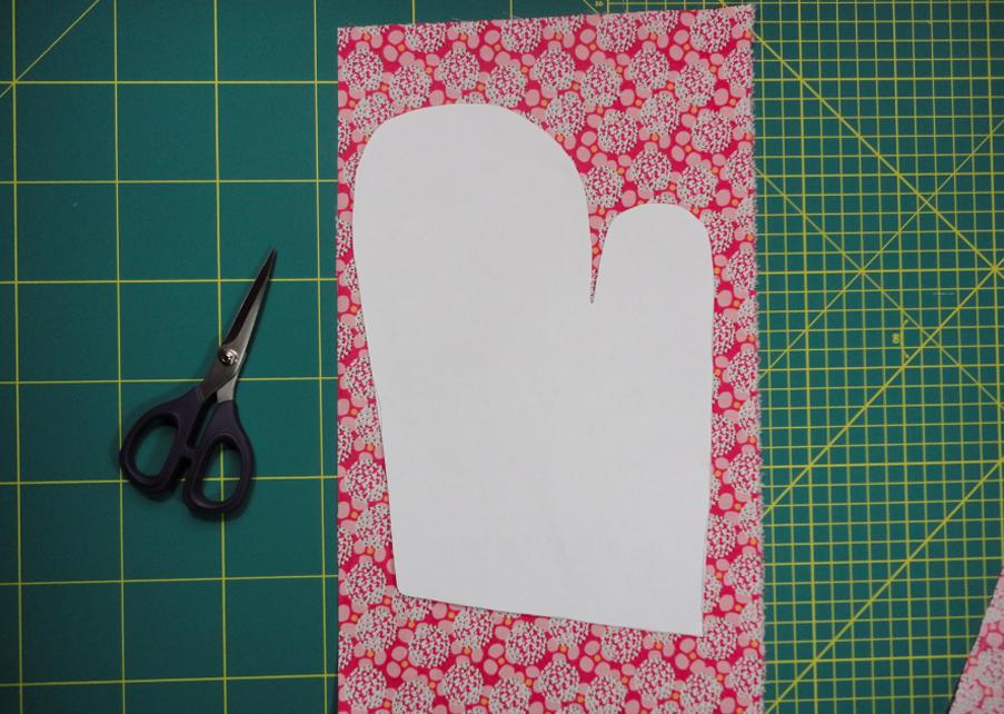 marcado patrón para manopla de tela