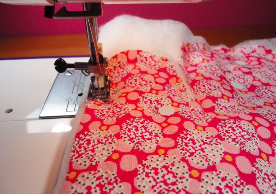 costura de relleno para manopla de tela