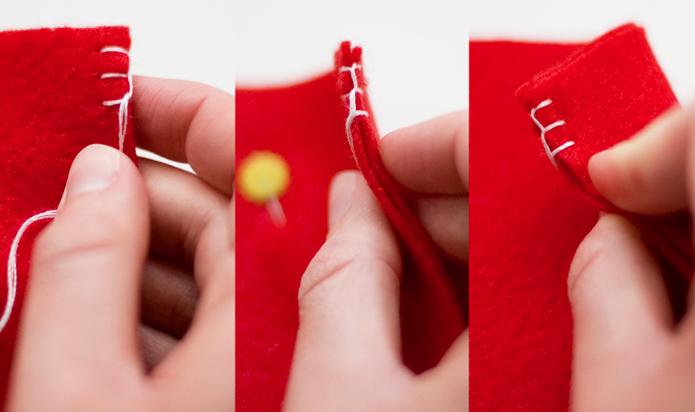 costura de tela para bota navideña