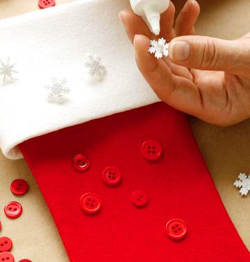 decoración de bota navideña de tela