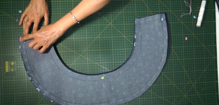 costura de telas con goma eva para sombrero