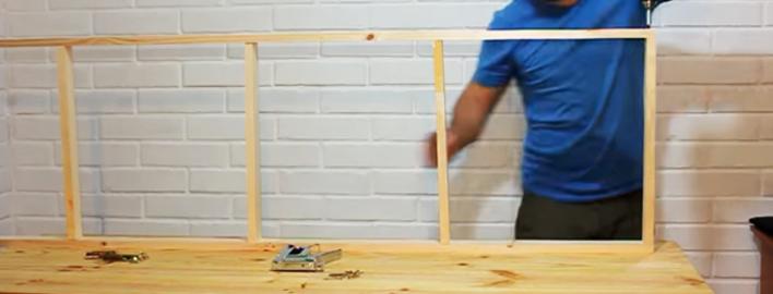 ensamble de maderas para biombo de tela